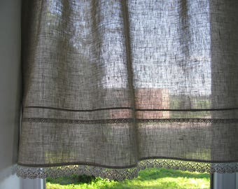 Grey Linen Curtain Romantic Cafe Curtains with Lace Edge Trim Window Panel French Country kitchen Curtain.Custom Curtain