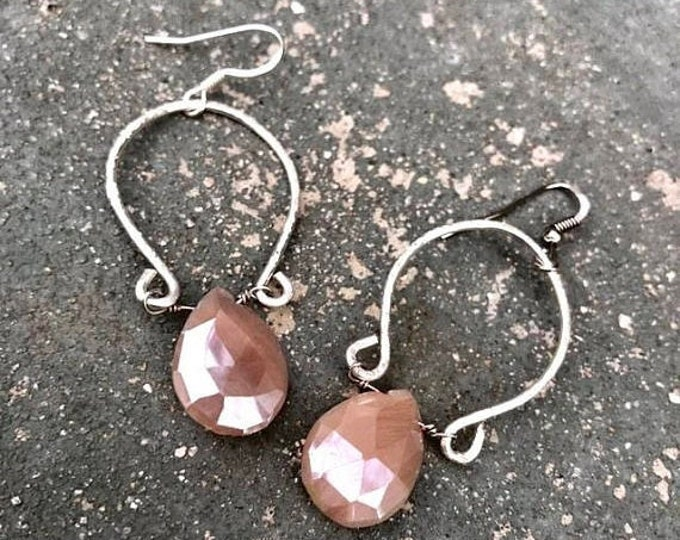 CLEARANCE SALE Peach Moonstone Hammered Sterling Silver Hoops