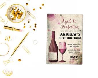 Wine inviteSurprise Birthday Invite,Surprise Invite, 30th, 40th, 60th any age,Surprise Birthday, aged to perfection
