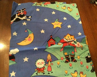 Nursery Rhyme fabric Hey Diddle Diddle The Cow jumped over the moon 1 yard piece