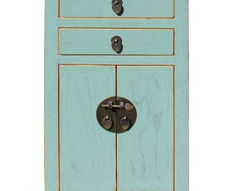 wholestoreSALE Chinese Light Turquoise Blue Lacquer Side End Table Nightstand cs2750E