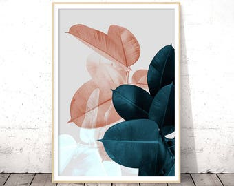 Blush Pink Leaves, Above Bed Wall Art, Wedding Gift, Blue Plant Print, Botanical Poster, Tropical Leaf, Digital Print Download Printable Art