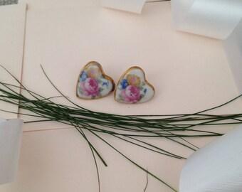 Ceramic Earrings - Heat Earrings - Heart Jewelry - Ceramic Jewelry - 1930s Earrings - Hearts - Antique Earrings - Jewellery - Unique - Gift