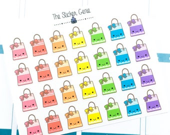 HAND DRAWN Kawaii - shopping bag Stickers | planner sticker, kawaii planner sticker, kawaii shopping bag, shopping sticker, spending sticker