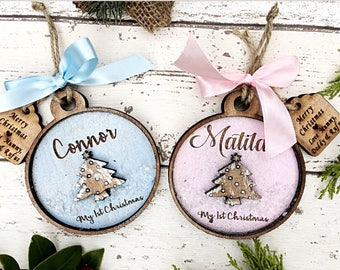 1st Christmas decoration , Baby's 1st Christmas decoration, Personalised Christmas tree decoration, Baby's  first Christmas tree decoration.