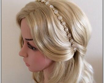 Wedding rhinestone headband Golden leaves bridal rhinestone golden leaves rhinestone wedding Hair Accessories Headband Crown Tiara Band