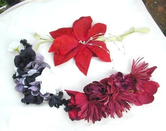 Large Floral flower Fascinator Miss Fisher hat pin vintage inspired flapper cloche pins