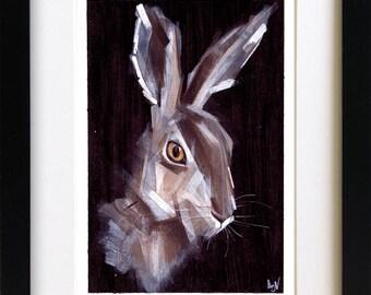 Hare Drawing Painting Mixed Media Original Artwork
