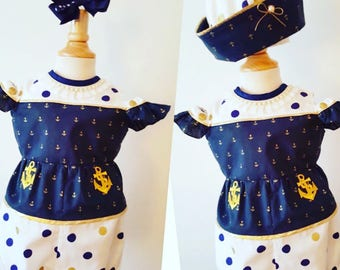 Girls Sailor Outfit, Girls Nautical Romper, Baby Girls Anchor Outfit, Baby Girls Anchor Romper, Toddler Romper, Girls Blue Romper, Pupolino.