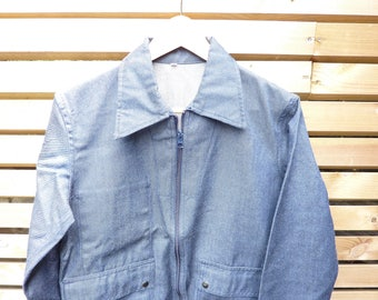 Vintage French denim chore worker jacket, bomber jacket, 70's. size small
