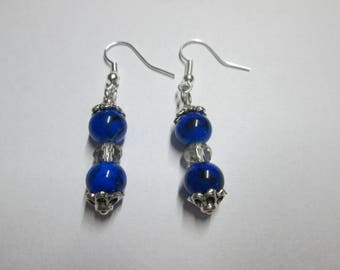 earring Pearl blue glass and Crystal