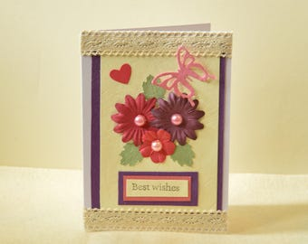 Handmade floral card, Birthday card