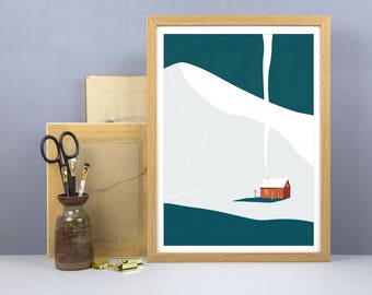 Winter Cabin Print - A3, A4 Size - Ski Print - Snowy Mountains Wall Art - Snowboard Alps Poster - Winter Home Decor Art