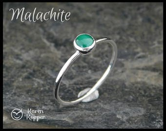 Size 9 ready to ship! Green malachite skinny ring, sterling silver 0.925, 5mm cabochon, 1.2 mm wide ring. Thin ring, stacking ring. 203