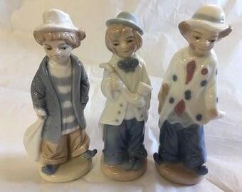 Clown Figurines, Formalities By Baum Bros Set Of Three, Hobo Musician, Blue white