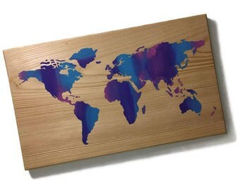 mutli color world map  - world map - world map decor - map decor - map wood sign - hand painted - world maps - maps - map sign