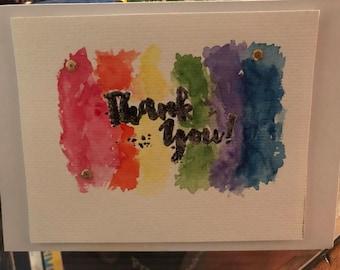Thank you greeting card. Watercolors rainbow handmade greeting card