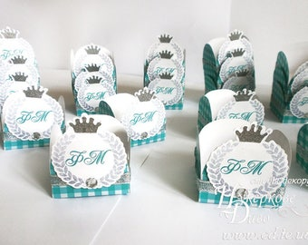 10 PERSONALIZED candy box with monogram prince - Unique design-sweet table decor-candy cups -party gift boxes-Birthday Bomboniere-favor box