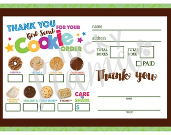 2018 Girl Scout Cookie Thank You/Order Form/Receipt