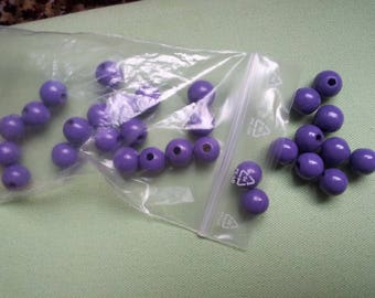 30 dark purple round beads