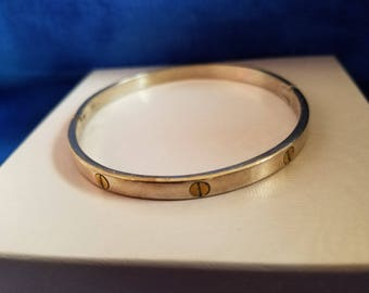 BA013 Sterling Silver Bangle with Gold Plated Screws