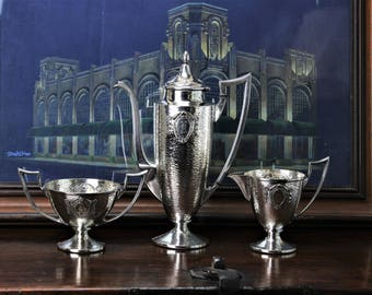 Arts and Crafts Silverplate Coffee Set Homan Manufacturing Hammered Texture Beaux Arts