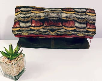 Fold Over Clutch-Genuine Leather-- Zipper Clutch, gift for her,- day- evening