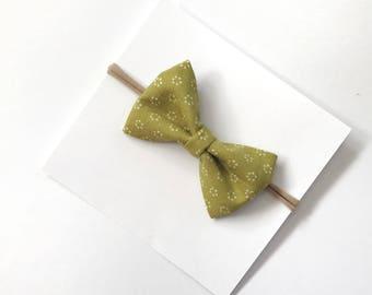 Tuxedo Bow Headband- Baby Girl Headband- Nylon Headband- Baby Bow- Toddler Hair//OLIVE GREEN