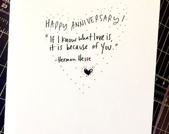 One Year Anniversary Card for her, Paper Anniversary, anniversary Card for boyfriend 365 days, 1st wedding anniversary, Love Quote Card