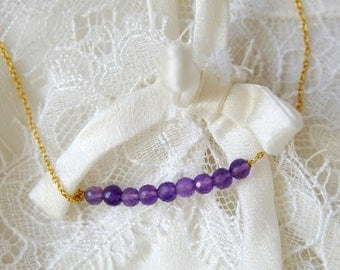Fine necklace with purple amethyst faceted micro Bead Necklace 925 sterling silver gold plated