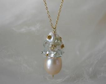 Rose Pearl pendant Aqua Marine rose quartz with chain silver or gold plated rose pearl pendant aquamarine rose quartz on chain