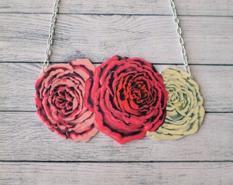 Shrink Plastic Necklace Roses Necklace Flowers Necklace Statement Necklace Floral Necklace Cluster Necklace Blossom Necklace Spring Necklace