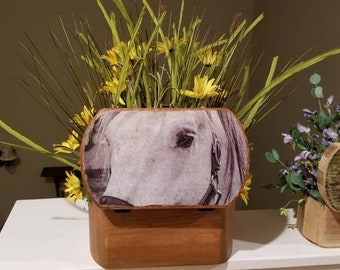 Horse large trinket box with custom flower arrangement.