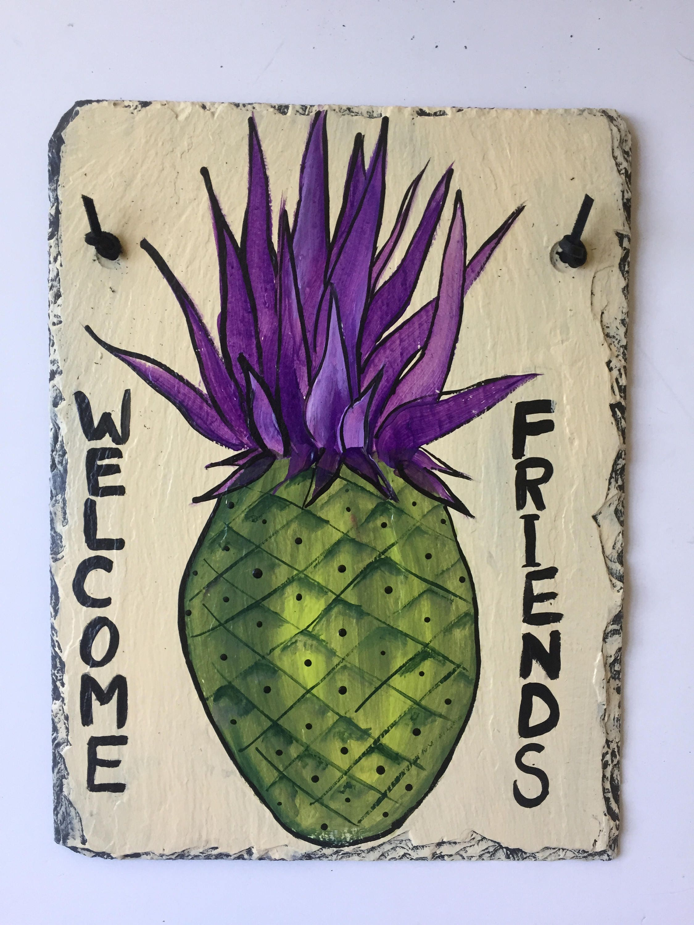 pineapple slate welcome sign, 12 x 9 painted slate, door hanging