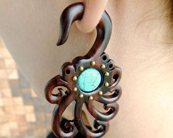 Octo Curls With Turquoise Gauges Earrings - Free Shipping