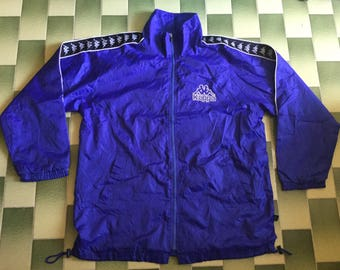 Vintage kappa taped big logo spell out Embroidered windbreaker jacket Size L