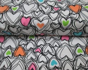 New batch of cotton lycra knit heart patterned fabric