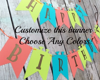 Custom Banner, Boys or girls Birthday banner, Add Childs Name / you choose colors / pink, green and white / ex.