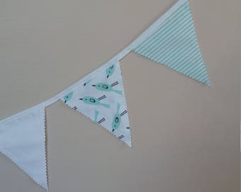 Party Garland (12 Flags) - Bunting Garland - Garland Banner - Bunting Flags - Cotton Garland Handmade Fabric Bunting - Pretty green  Baby
