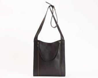 Everyday womens bag, leather macbook bag, sturdy leather tote, black leather tote, womens work bag, laptop tote leather, black zipper tote