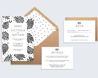 Botanical Leaf Wedding Invitation |  Monochrome Wedding Stationary  |  Printable Wedding Set