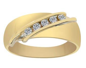 0.20 Carat Diamond Men's Wedding Band 14K Yellow Gold Ring
