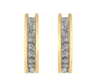 0.25 Carat Round Cut Diamond Huggie Earrings 14K Yellow Gold