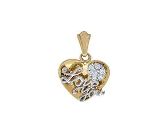 0.25 Carat Cubic Zirconia 'Love You' Heart Pendant 14K Two Tone Gold