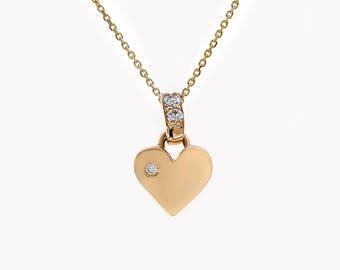 0.20 Carat Round Cut Diamond Puffy Heart Pendant Necklace 14K Yellow Gold