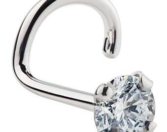 2.5mm 0.06 ct. tw Diamond 950 Platinum Nose Ring Twist Screw