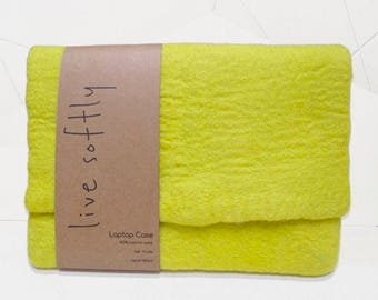 Hand Felted Wool Laptop Case - Yellow