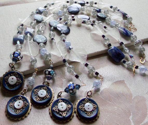 Denim blue button candle ring - beaded candle wraps - bronze filigree - cottage - farm house decor - leaf bling - Lizporiginals