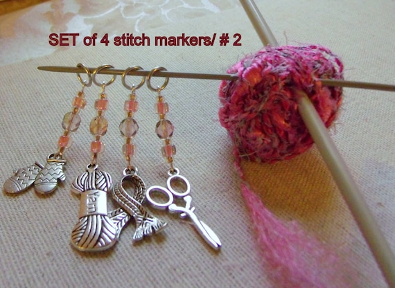 Pink stitch markers - set/ 4 or set / 8 --- scissor- yarn - knitting accessory - scarf - sweater charms -  crochet gift - knitter -  beads