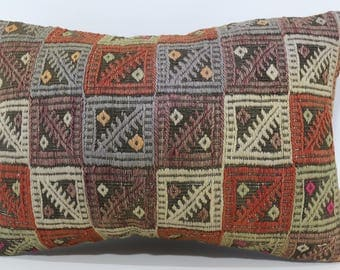 Embroidered Kilim Pillow Sofa Pillow Sofa Pillow 16x24 Lumbar Kilim Pillow Zigzag Kilim Pillow Ethnic Pillow Cushion Cover  SP4060-606